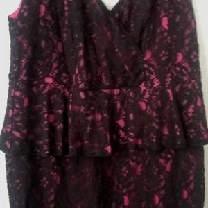 Torrid pink and black lace dress